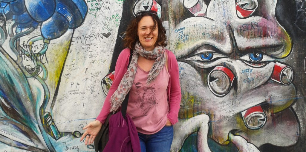 Joanne Amos, The Wandering Wordsmith at the Berlin Wall