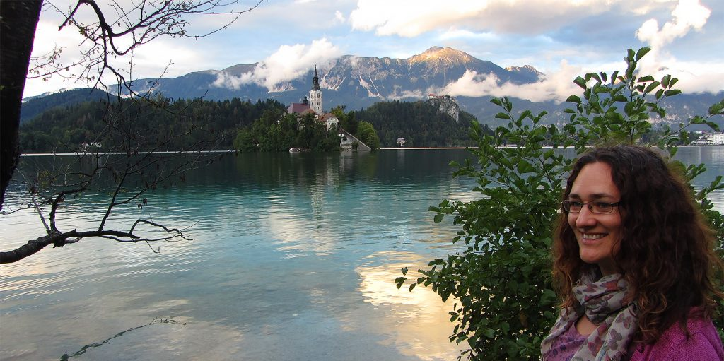 Joanne Amos, The Wandering Wordsmith, at Lake Bled