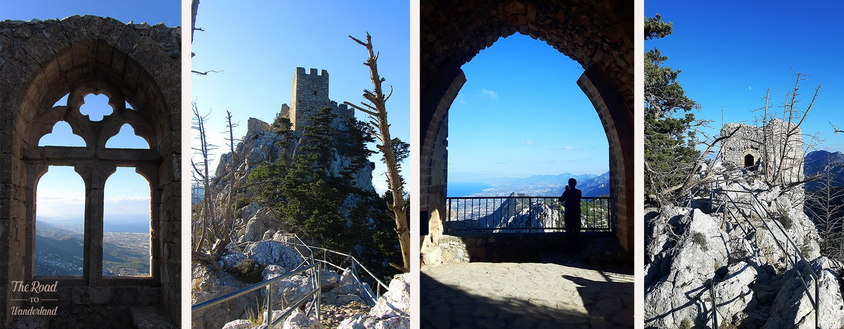 Windows, turrets & viewpoints, collage of St Hilarion