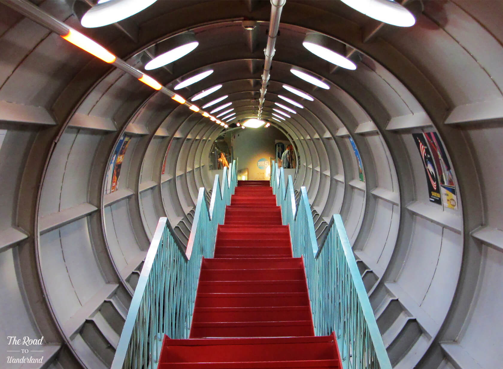 Set of stairs leading up one of the Atomium's tubes to the next sphere