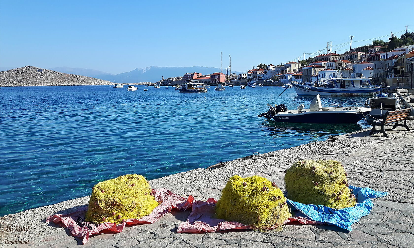 Fishing nets on Halki harbour