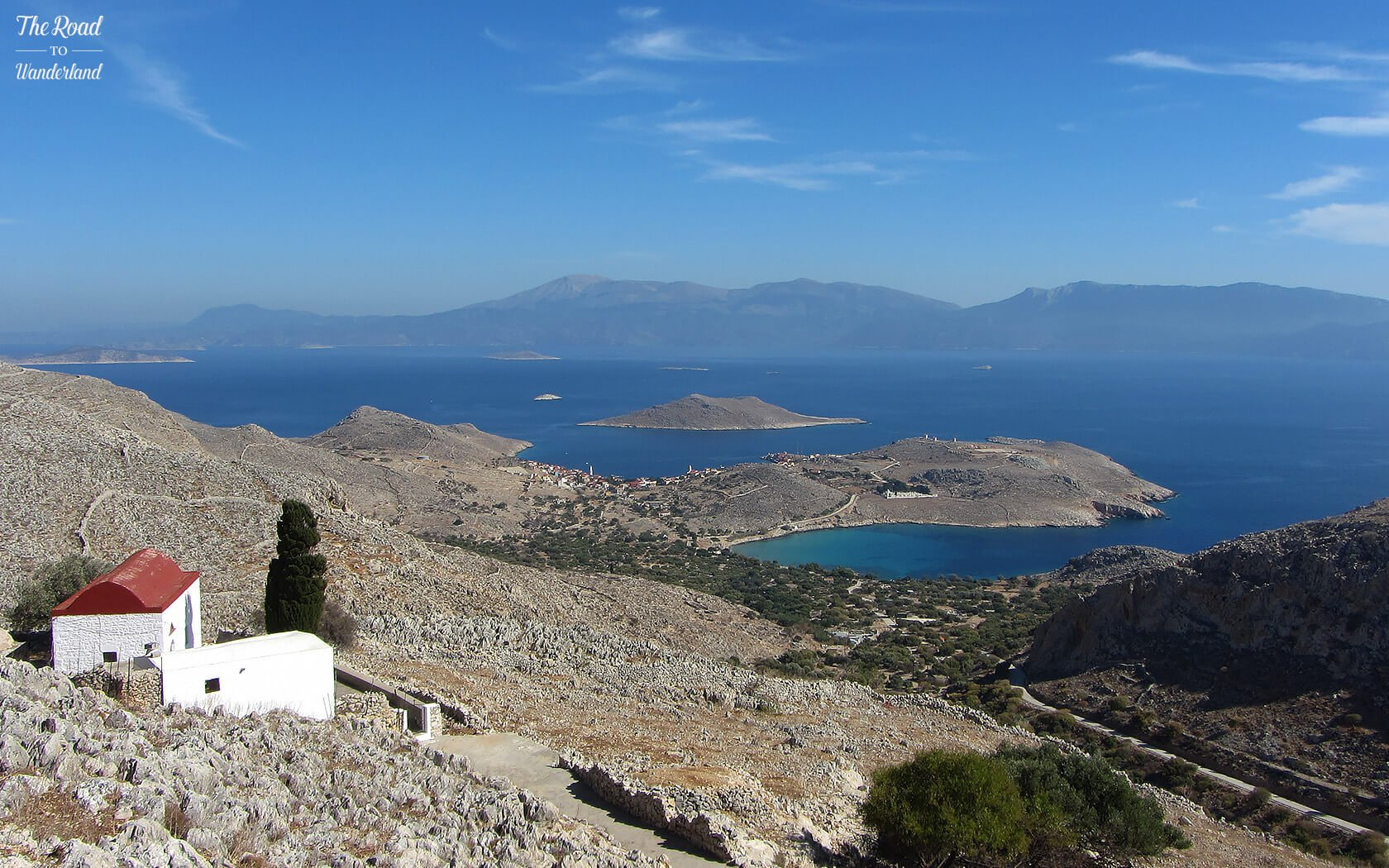View over Emborio with Rhodes in the distance