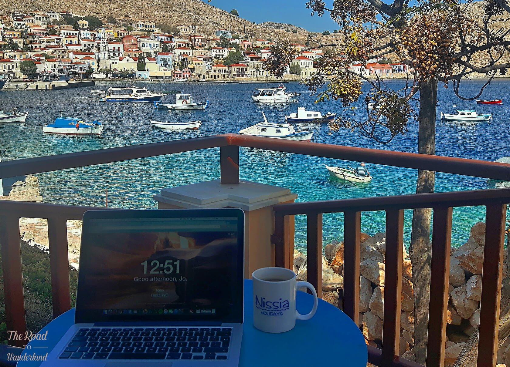 Working hard in Halki, Greece