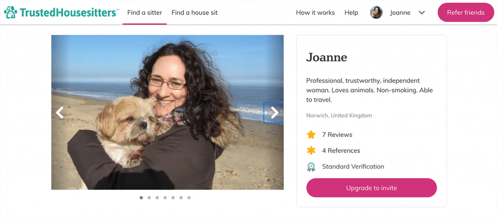 My Trusted Housesitter profile