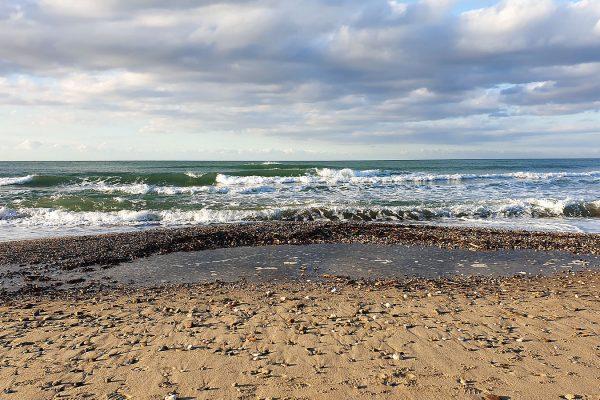 Rethymno beach on a stormy day