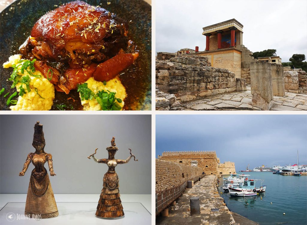 Heraklion 2019: Meal at Peskesi; Minoan palace at Knossos; Heraklion fort; the Snake Goddesses