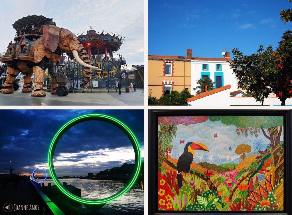 Nantes 2019: Les Machines de l'Ile; colourful houses at Trentemoult; painting by Alain Thomas; Les Anneaux de Buren