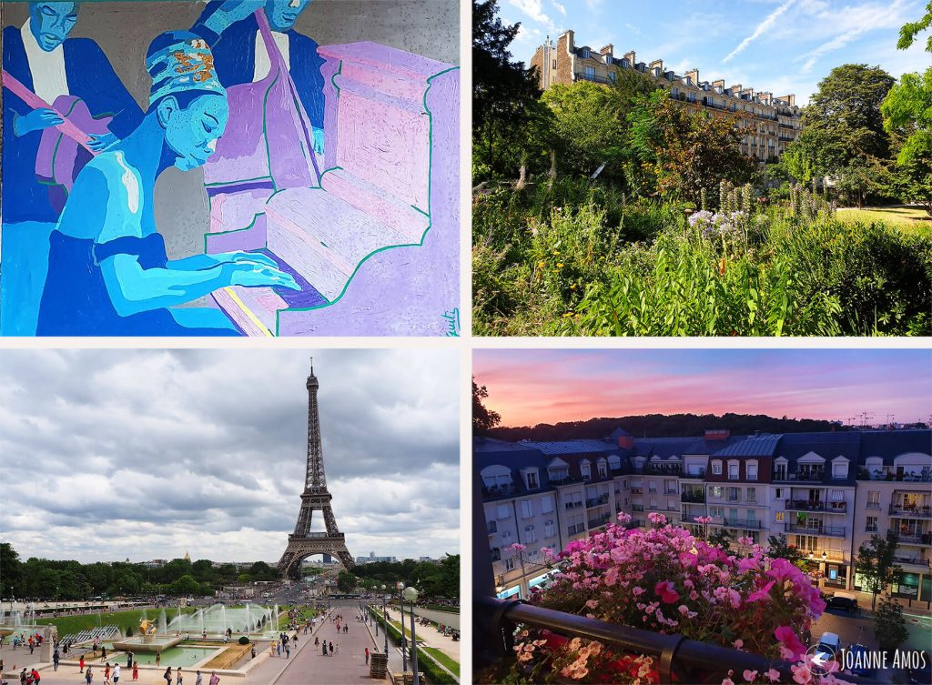 Paris 2019: street art in Montreuil; street scene Paris; sunset in Le Plessis-Robinson; the Eiffel Tower