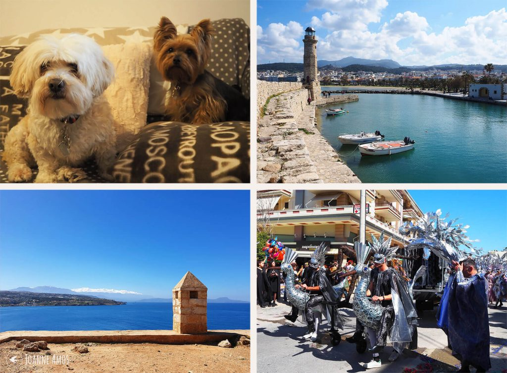Rethymno 2019: Daenerys Stormborn & Scruffy Bear; Rethymno Harbour; Rethymno Carnival; The White Mountains from Rethymno Fort