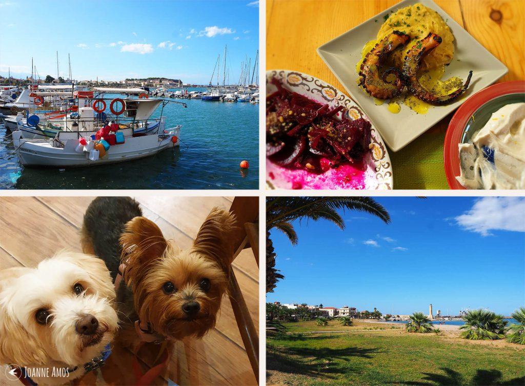 Rethymno 2019: the port; meze at Raki Ba Raki; town beach; puppies